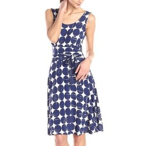 New Leota Brittany Fit & Flare Navy Dot Dress